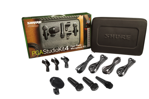 4-piece studio kit including 1-PGA52, 1-PGA57, 2-PGA181, 1-A25D stand adapter, 2-WA371 stand adapters, 4-XLR-XLR cables, case