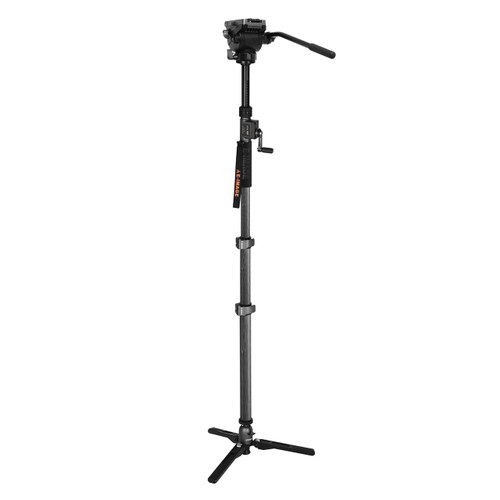 ML-900C+GH04F Carbon Fiber Monopod w/Fluid Head and Hand Crank Max. Height 81.9 in