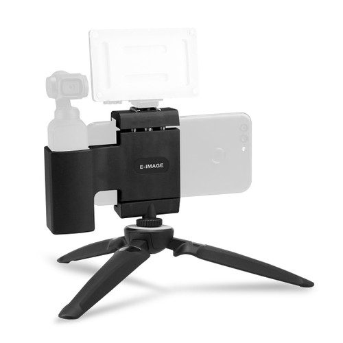 DJI OSMO Pocket and smartphone holder with mini tripod and cold shoe mount