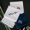 Embroidered Handkerchiefs showing the navy men's handkerchief embroidered in white. Also showing white handkerchiefs embroidered in navy.