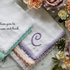 Lavender Lace handkerchief shown embroidered with Large French Script monogram in a perfect match lavender embroidery thread.