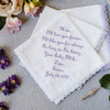 Mother of the Bride handkerchief embroidered in lavender with name and wedding date.