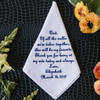 Father of the Bride handkerchief embroidered with a message to dad & personalized name and date. Embroidery in navy.