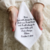 Father of the Bride handkerchief embroidered with a message for dad and personalized with name and date.