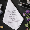 Father In Law Handkerchief embroidered with a message, name and wedding date