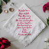 Grandmother handkerchief personalized with message, name and wedding date.