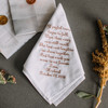 Handkerchief for your grandfather embroidered with a wedding message, name and date