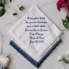 Daughter bridal handkerchief embroidered with your name and wedding date. Shown in navy thread.