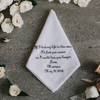 Handkerchief for the groom embroidered and personalized with wedding date and name. Shown in dark grey thread.
