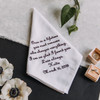Groom Wedding Handkerchief embroidered with a message & personalized with name & date.