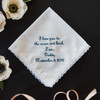 Bridal handkerchief embroidered with I Love You To Moon & Back message and wedding date.
