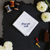 Father of the bride handkerchief with embroidered I love you message and personalized wedding date.
