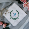 Something blue wedding handkerchief embroidered with bride's monogram and vines.
