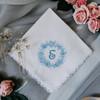 Something Blue white handkerchief with powder blue monogram for the wedding