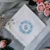 Something Blue wedding handkerchief embroidered with the bride's monogram & a floral wreath.