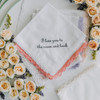 white lace wedding handkerchief with customized message in grey