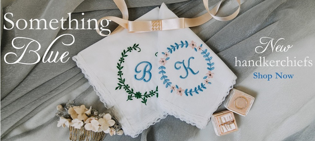 something blue handkerchiefs embroidered with monograms