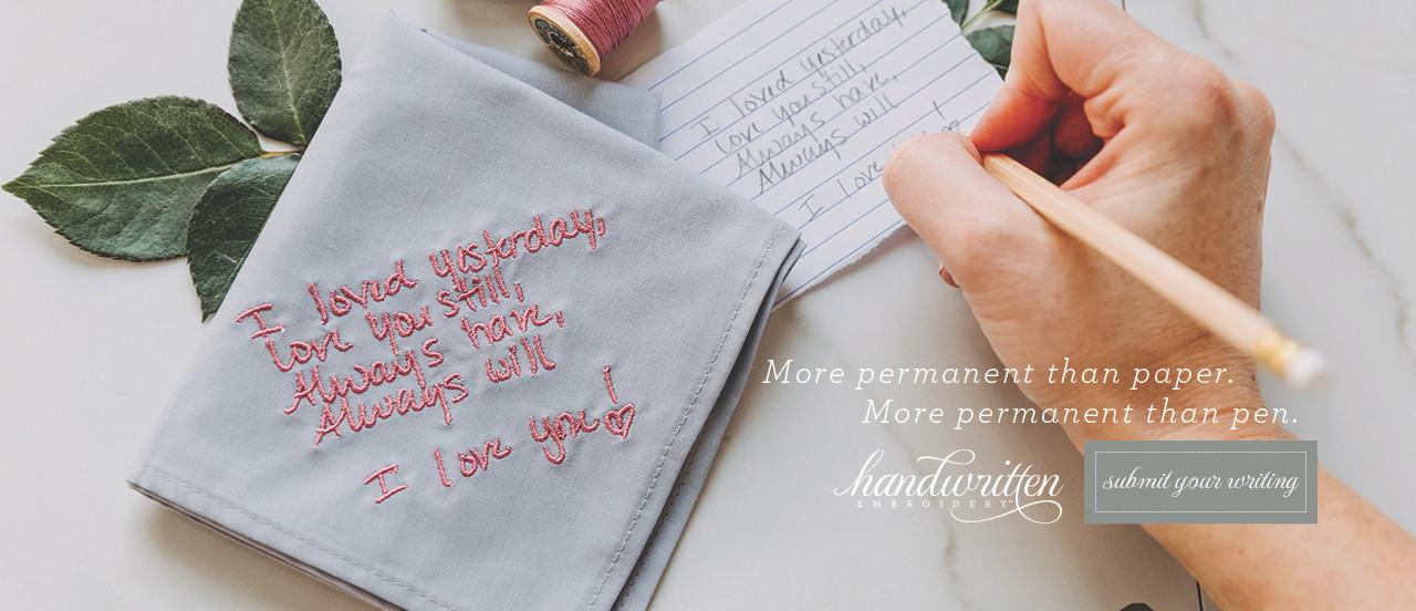 Handwritten Embroidery on handkerchiefs