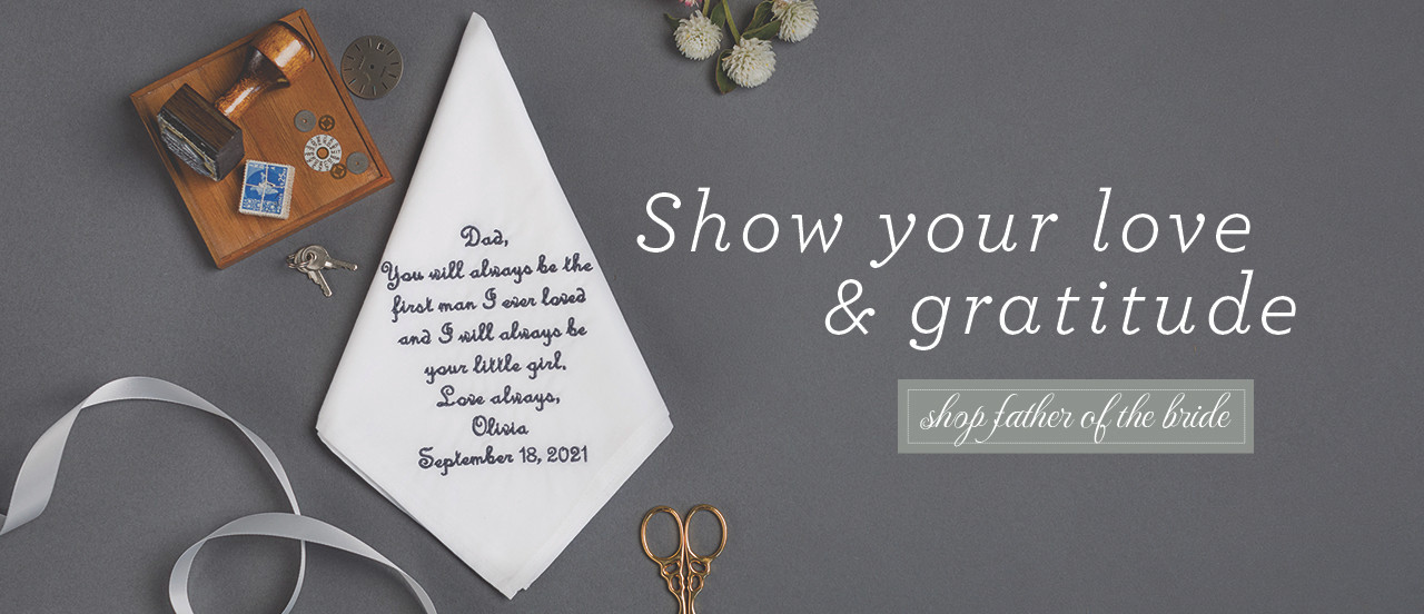 Father of the Bride handkerchief personalized with a custom message