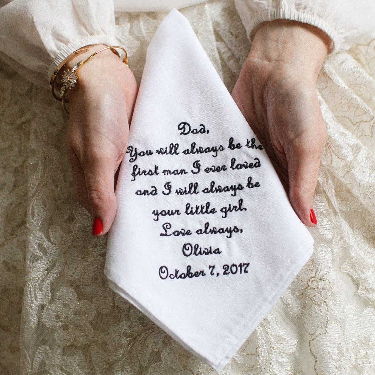 Wedding Gift for Father of the Bride xoxo FATHER Of The BRIDE Handkerchief Hanky Hankie To the man who first taught me about love
