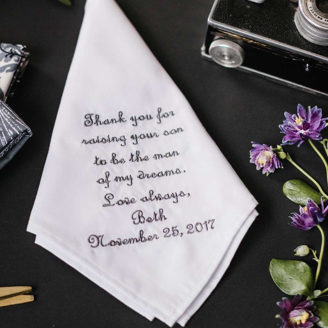 MANS HANKIE WITH YOUR OWN MESSAGE EMBROIDERED FOR THE FATHER OF THE GROOM