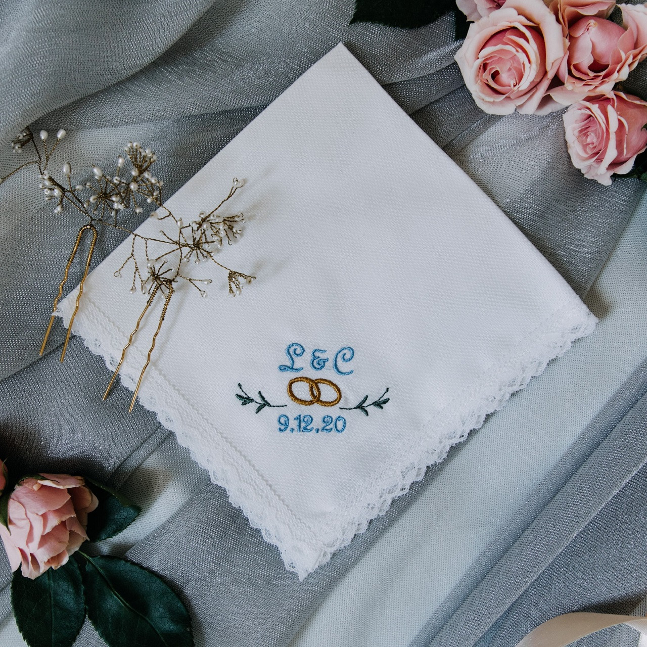 Something Blue Wedding Handkerchief Monogrammed The Handkerchief Shop