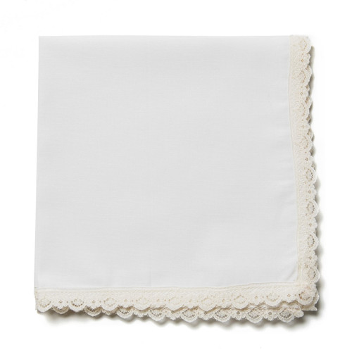Ivory lace wedding handkerchief with ivory fabric and matching lace. Ready to customize with an embroidered message.