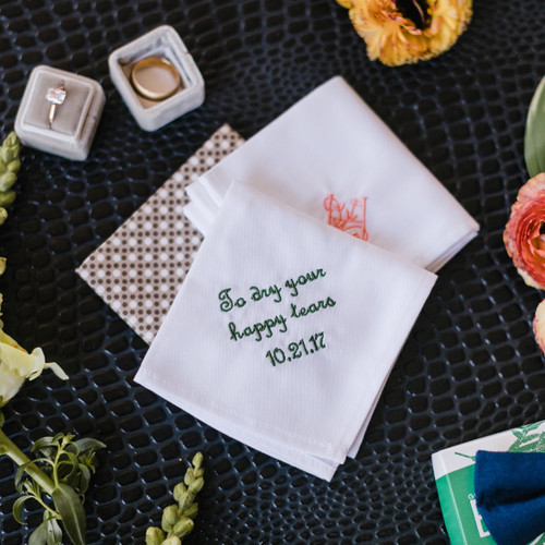 Men's wedding handkerchief embroidered with happy tear message and date