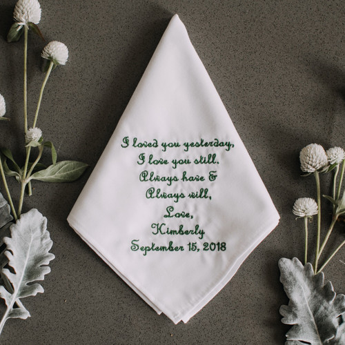 Groom handkerchief personalized with embroidered message, name and wedding date