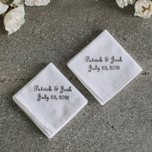 His & His Wedding Handkerchiefs