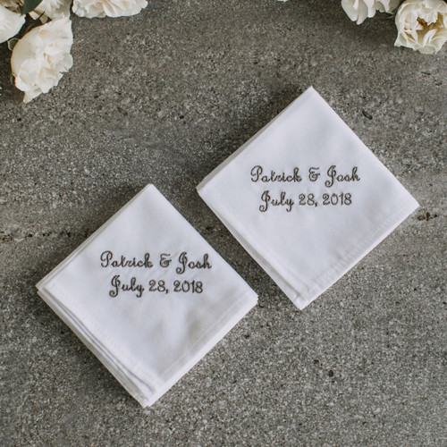Wedding Handkerchiefs for grooms embroidered with their names and wedding dates