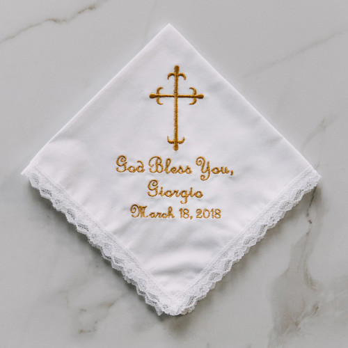 Baptism or Communion handkerchief embroidered with name and date