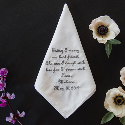 Groom handkerchief embroidered with wedding message and date