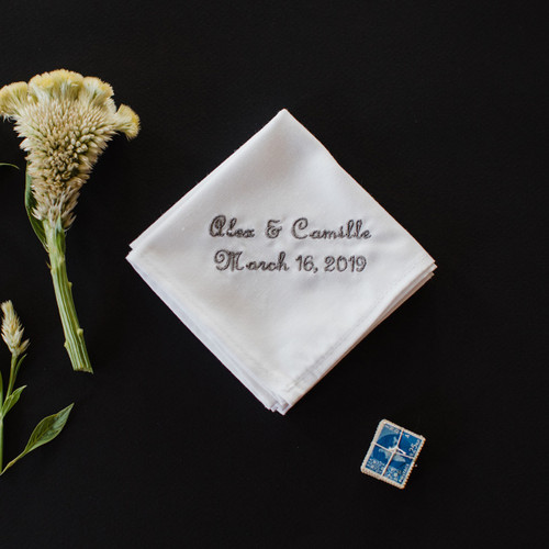 Men's Embroidered Wedding Handkerchief with personalized names and wedding date. Embroidery is shown in grey.