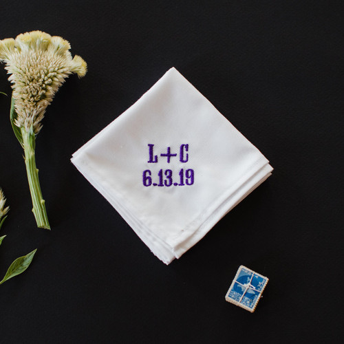 Men's wedding handkerchief with embroidered monogram and wedding date.  Custom embroidery in purple thread.