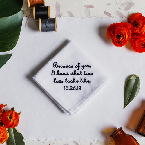 Father of the bride handkerchief embroidered with message and personalized with your wedding date.