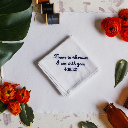 Groom Handkerchief embroidered with message and your wedding date