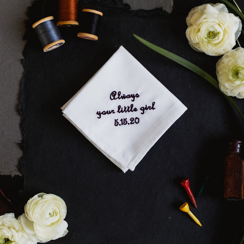 Father of the bride wedding handkerchief personalized with your wedding date for your dad. Embroidered in black thread.
