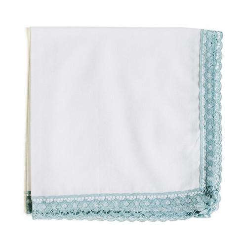 dusty blue lace wedding handkerchief
