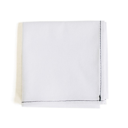 White Handkerchief with black contrast stitching