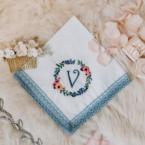 Something blue wedding handkerchief embroidered with floral wreath & monogram for women.