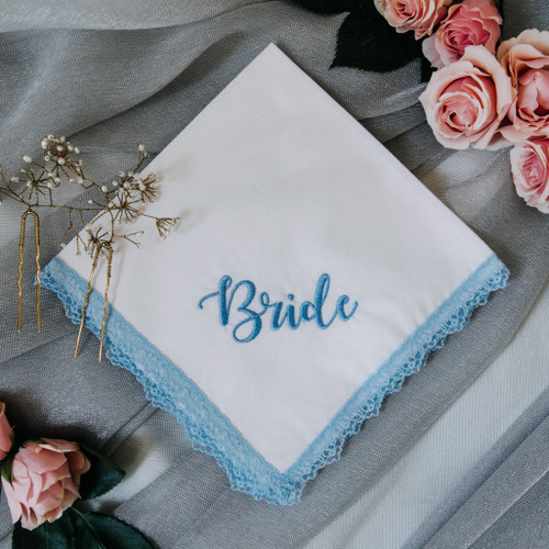 Something Blue handkerchief embroidered with bride in powder blue thread