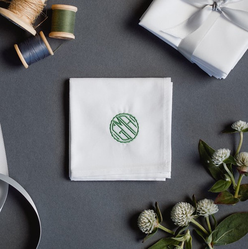 monogrammed handkerchief with small circle embroidered monogram. white handkerchief