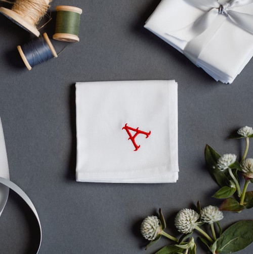 Monogrammed men's handkerchief with gothic embroidered monogram style. Handkerchiefs are white with red embroidery.