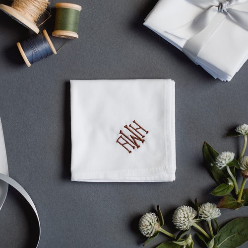 Monogrammed men's handkerchief with elegant embroidered monogram in merlot color embroidery thread.