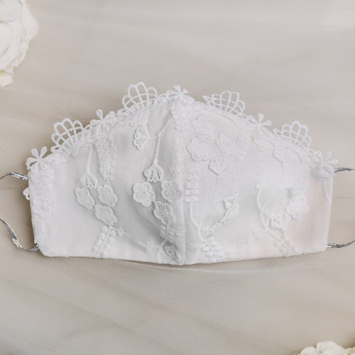 White Lace Bridal Face Mask