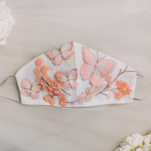 Butterfly & Floral Bridal Face Mask