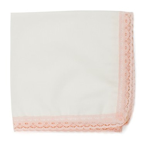 Blush lace wedding handkerchief with ivory fabric and blush pink lace. Ready to personalize with an embroidered message.