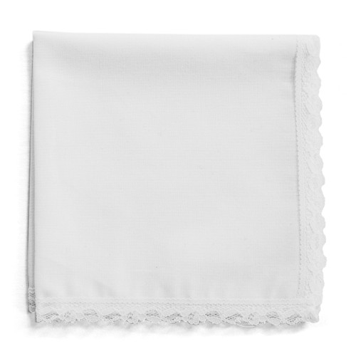 White lace wedding handkerchief with white fabric and white lace. Customize with a message, monogram or design.