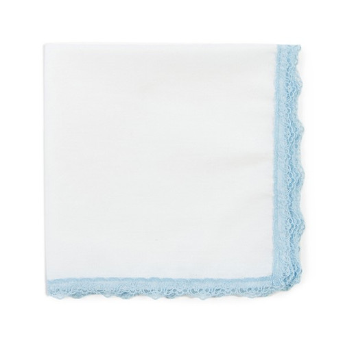 Something Blue lace wedding handkerchief with white fabric and powder blue lace. Ready to personalize with an embroidered message.